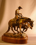 Bronze Sculpture Prints - Reining Cowhorse bronze Print by Kim Corpany