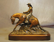 Animals Sculptures - Reining horse and Lady rider bronze sculpture by Kim Corpany
