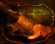Digital Layers Prints - Rejoice - He Is Risen Print by J Larry Walker