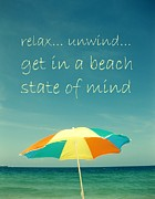 Umbrella Pyrography Posters - Relax Unwind Get In A Beach State Of Mind Poster by Maya Nagel