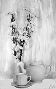 Vase Of Flowers Digital Art Prints - Relax with Tea Print by Marsha Heiken