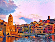 Cinque Terre Paintings - Relaxing Around Vernazza by Michael Pickett