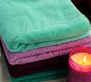 Absorbent Posters - Relaxing Bath - Cozy Towels - Serenity Poster by Barbara Griffin
