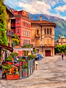 Outdoor Cafe Paintings - Relaxing In Baveno by Michael Pickett