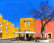 American Colonial Architecture Posters - Relaxing in Colorful Puebla Poster by Mark E Tisdale