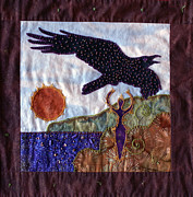 Animal Tapestries - Textiles Posters - Releasing Raven Poster by Dawn Shears