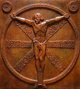 Relief Sculpture Reliefs Framed Prints - Relic - A Celtic Crucifixion Framed Print by Jeremiah Welsh