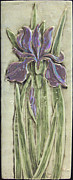 Tile Reliefs - Relief carved ceramic Iris by Shannon Gresham