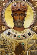 Religious Art Inside The Tsminda Sameba Cathedral Tbilisi Print by Robert Preston