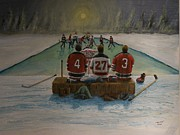 Pond Hockey Paintings - Rematch 2012 - Devils/Kings by Ron  Genest