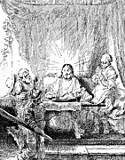 Christianity Drawings - Rembrandt Etching Supper at Emmaus by