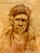 Drifter Drawings Prints - Rembrandt from his self portrait Print by Troy Brown