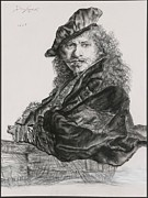 Costume Pastels Metal Prints - Rembrandt in Costume Metal Print by Donna Dalgewicz