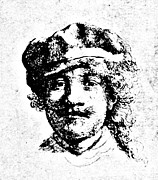18th Century Drawings - Rembrandt Self Portrait Engraving by
