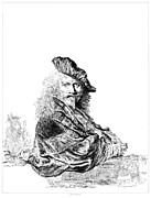 18th Century Drawings - Rembrandt Self Portrait Etching by