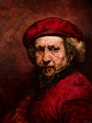 Edward Ofosu Framed Prints - Rembrandt with an iPad Framed Print by Edward Ofosu