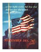American Flag Mixed Media - Remeber Dec 7th - World War 2 Art by Presented By American Classic Art