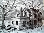 Haunted House Drawings Framed Prints - Remember Me Framed Print by Shelby Edelman