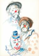 Painted Faces Posters - Remember the Clowns Poster by Mary Armstrong