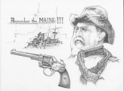 Maine Drawings Acrylic Prints - Remember the Maine Acrylic Print by Scott and Dixie Wiley