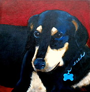 Animal Lover Paintings - Remembering Doby by Debi Pople