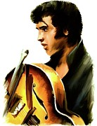 Lithographs Posters - Remembering   Elvis Poster by Iconic Images Art Gallery David Pucciarelli