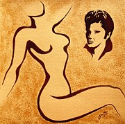 Nude Young Man Prints - Remembering original coffee painting Print by Georgeta  Blanaru