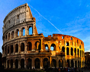 Roman Ruins Digital Art Posters - Remnants Of Ancient Rome - The Colosseum Poster by Mark E Tisdale