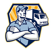 Removal Prints - Removal Man Moving Delivery Van Crest Retro Print by Aloysius Patrimonio