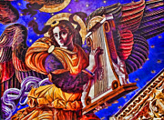 Gabriel Digital Art Posters - Renaissance Angel With A Harp Poster by Alexandra Jordankova