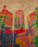 Series Mixed Media Posters - Renaissance Center Iconic Buildings of Detroit Watercolor on Worn Canvas Series Number 2 Poster by Design Turnpike
