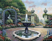 Pallet Knife Paintings - Renaissance Garden by John Zaccheo