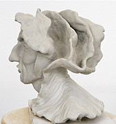 Male Portrait Sculpture Sculptures - Renaissance Man Side View by Ruth Edward Anderson