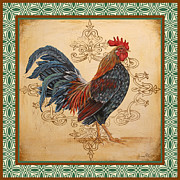 Coq Paintings - Renaissance Rooster-B-GREEN by Jean Plout