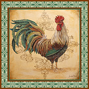 Coq Paintings - Renaissance Rooster-D-GREEN by Jean Plout