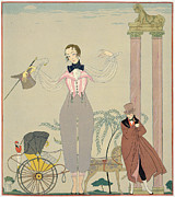 Cane Paintings - Rendez-vous  by Georges Barbier