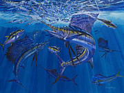 Yellowfin Tunas Posters - Rendezvous Poster by Carey Chen