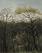 Meeting Framed Prints - Rendezvous in the Forest Framed Print by Henri J F Rousseau