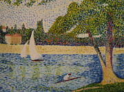 Grande Painting Framed Prints - Rendition of Seurats Seine Grande Jatte Framed Print by April Maisano