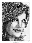 Closeups Drawings Prints - Rene Russo in 1999 Print by J McCombie