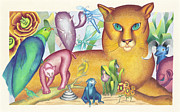 Lion Illustrations Paintings - Reno and Friends by Judy Salinsky