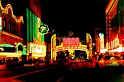 Motel Digital Art Prints - Reno at Night Print by Michelle Calkins
