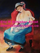 Chicago Black White Drawings Posters - Renoir girl with Cat Poster by Eric  Schiabor