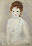 White Dress Pastels Prints - Renoirs Lady Print by Marna Edwards Flavell