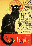 Vintage Paris Drawings Posters - Reopening of the Chat Noir Cabaret Poster by Theophile Alexandre Steinlen