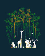 Children Digital Art Framed Prints - Repaint the forest Framed Print by Budi Satria Kwan