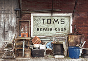 Kitty Cat Prints - Repair Shop Print by Steven  Michael