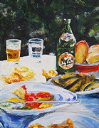 Beer Oil Paintings - Repast by Timi Johnson