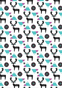Repeat Print - Folk Deer Print by Susan Claire