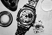 Dismantling Prints - Replacing The Battery In A Metal Band Wrist Watch Print by Joe Fox